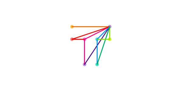 点と線で要素が浮かぶロゴマーク