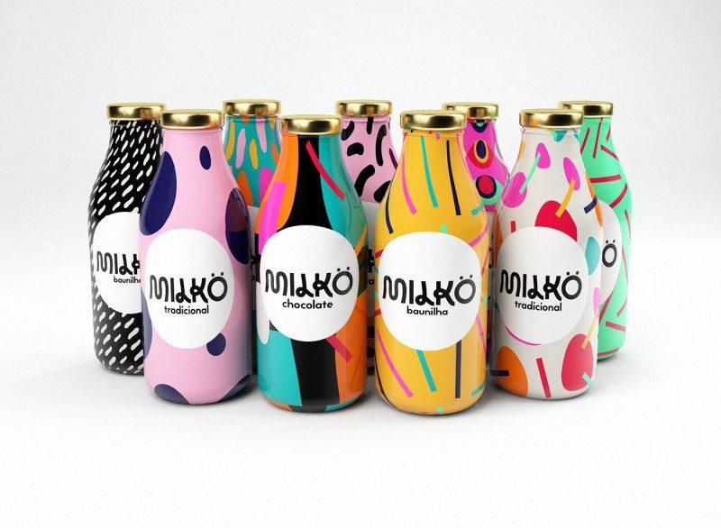 カラフルPOPな牛乳のパッケージデザイン制作例