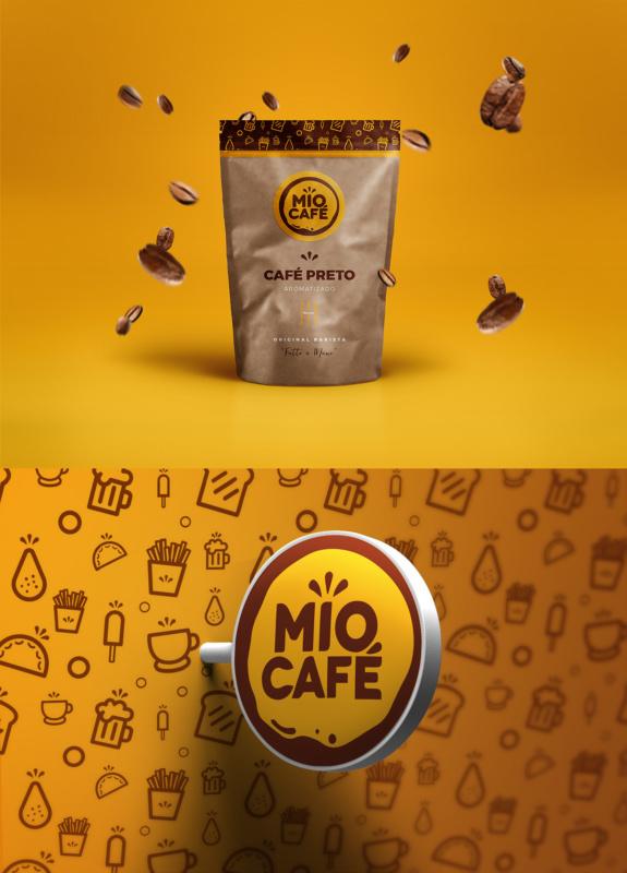 カフェのパッケージと看板デザイン