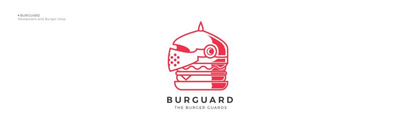 キャッチーなバーガーショップのロゴ