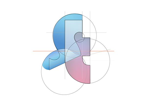 企業ロゴを幾何学的に分解