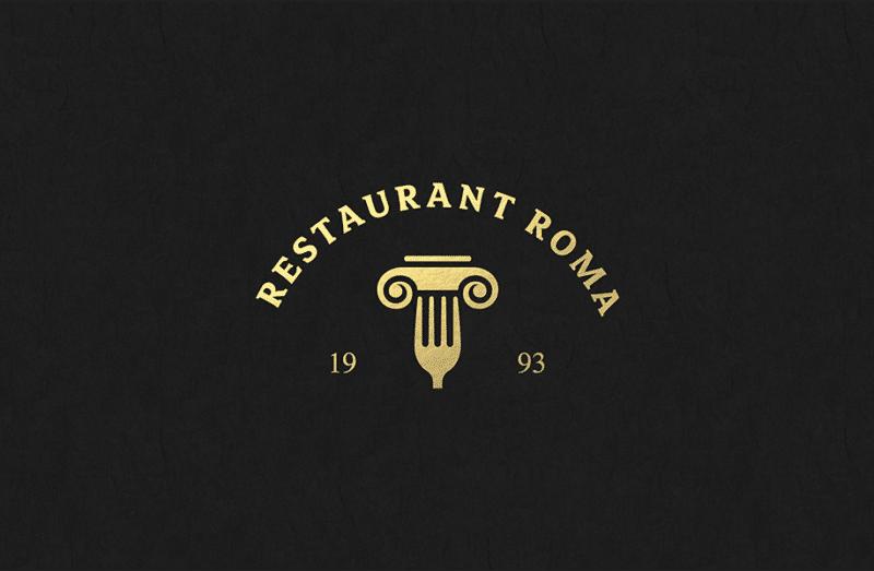 ローマ風のレストランのロゴ