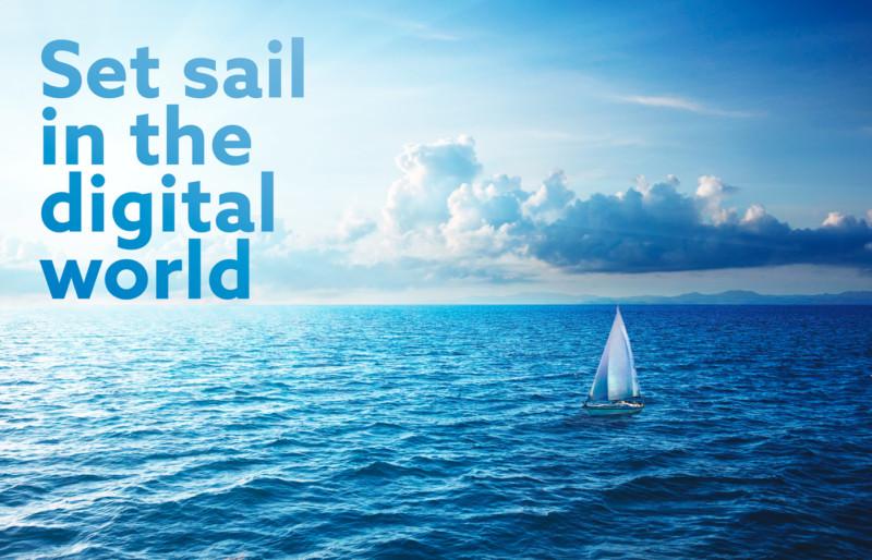 「デジタル世界へ出航」を掲げる企業のロゴデザイン
