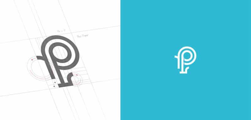 グリッド設計のロゴデザイン