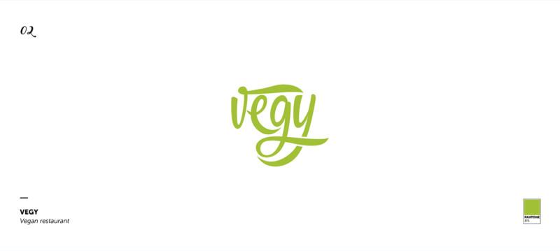 ベジタリアン向けレストランのロゴ作成例