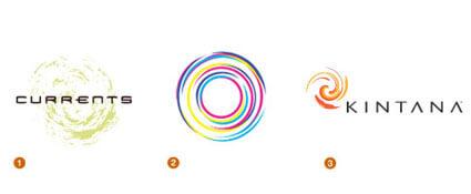 自然な螺旋を描くロゴ達