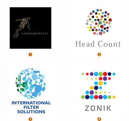 大小の点で構成されたロゴ