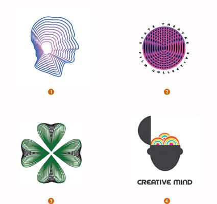 中心へ集中するロゴ