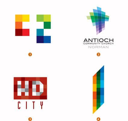 ピクセルで構成されたロゴ