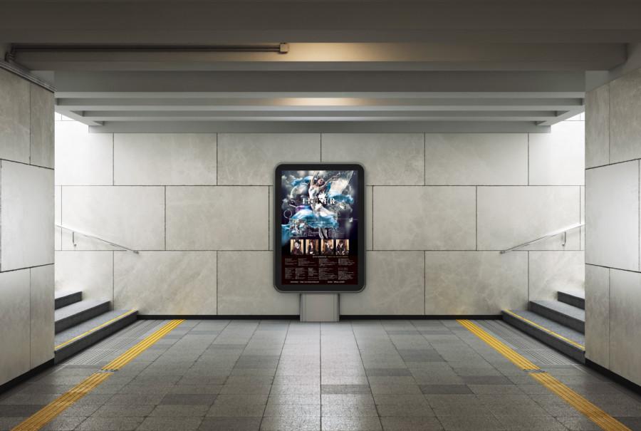CDのリリース告知の透明感のある華麗なポスターデザイン