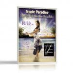 ハワイアンな雰囲気のコンサート告知ポスターデザインを制作しました。