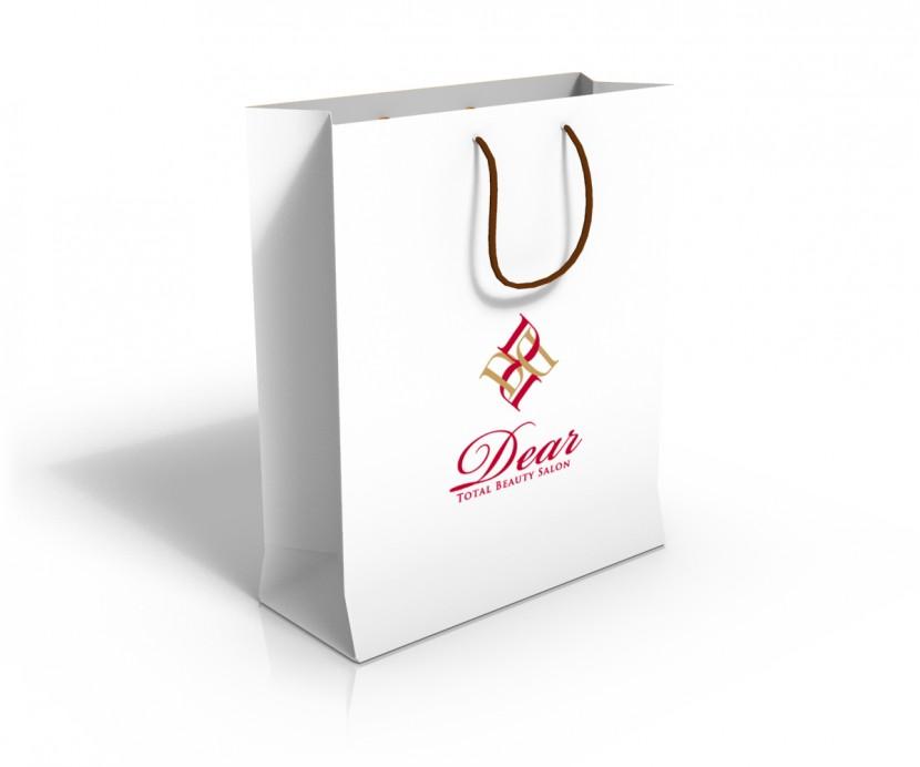 美容室の紙袋デザイン白ver