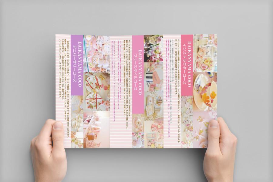 皿絵付け教室の三つ折りパンフレットデザイン_裏面