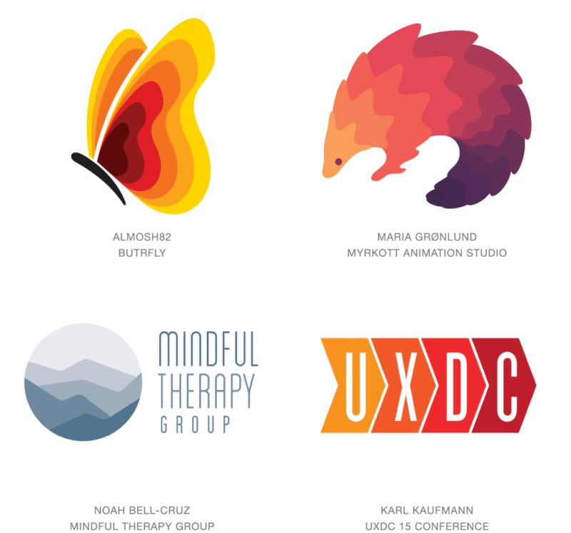 段階的に色変化するロゴデザイン