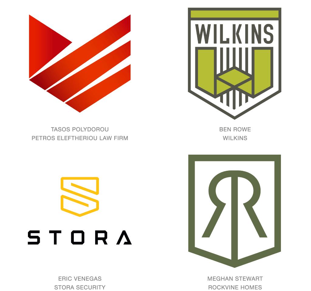 盾モチーフのロゴデザイン