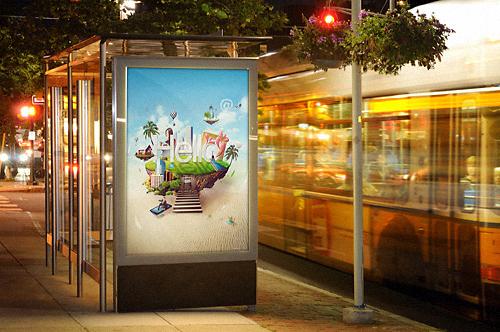 Bus Stop Billboard at Night
