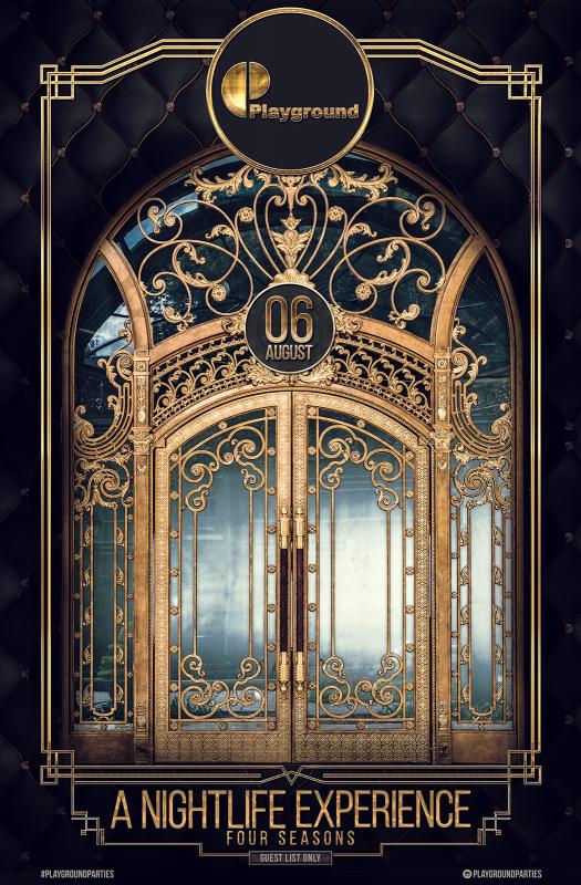 扉の重厚感があるイベントフライヤー制作例