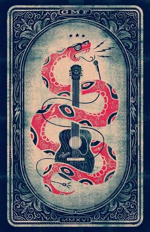 音楽フェスのビンテージなポスターデザイン