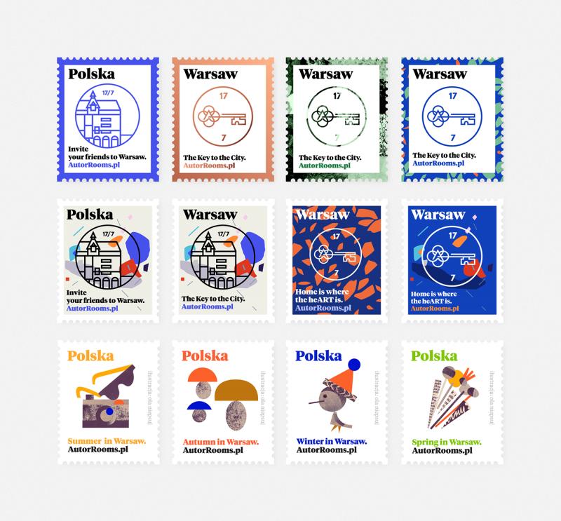 切手風のステッカーデザイン