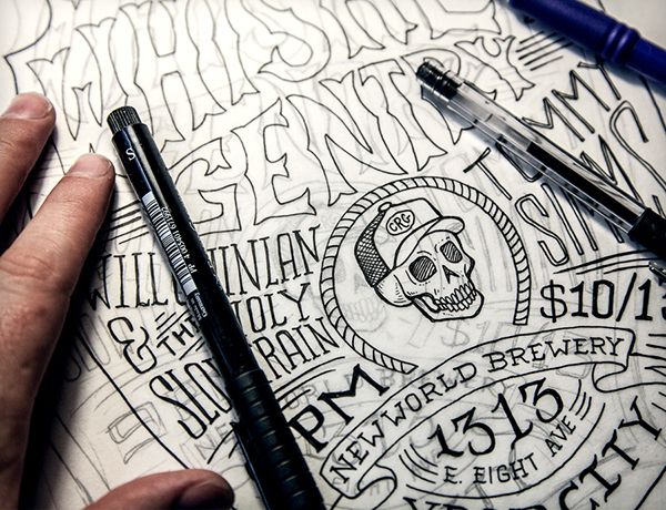 ポスターデザインのペン入れ 3