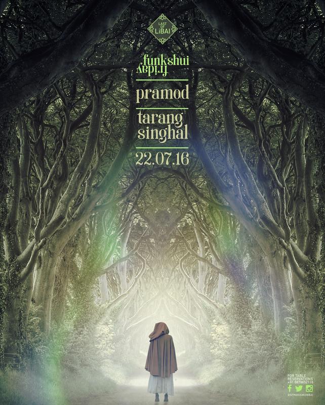 神秘的な森を描いたフライヤーデザイン