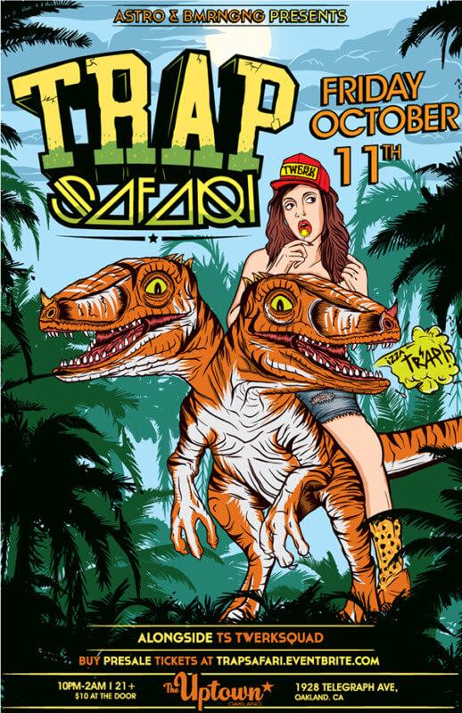恐竜が印象的なフライヤーデザイン_表