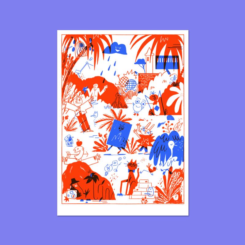 赤と青が美しいポスターデザイン
