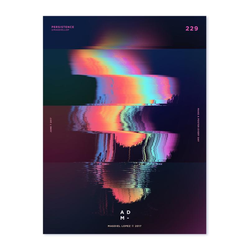 光や色の揺らめきモチーフにした抽象的なポスターデザイン2