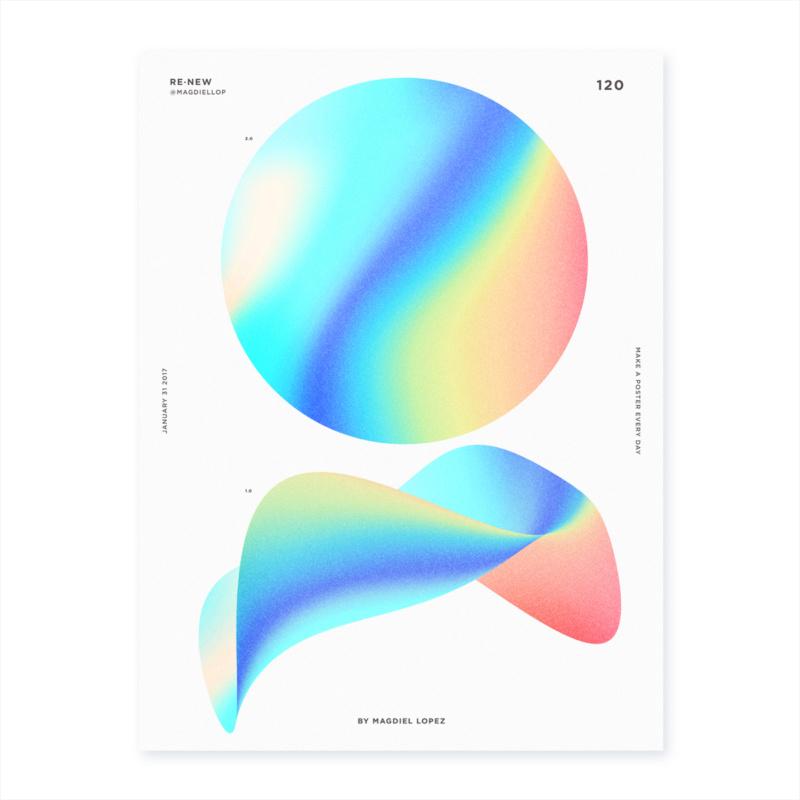 光や色の揺らめきモチーフにした抽象的なポスターデザイン