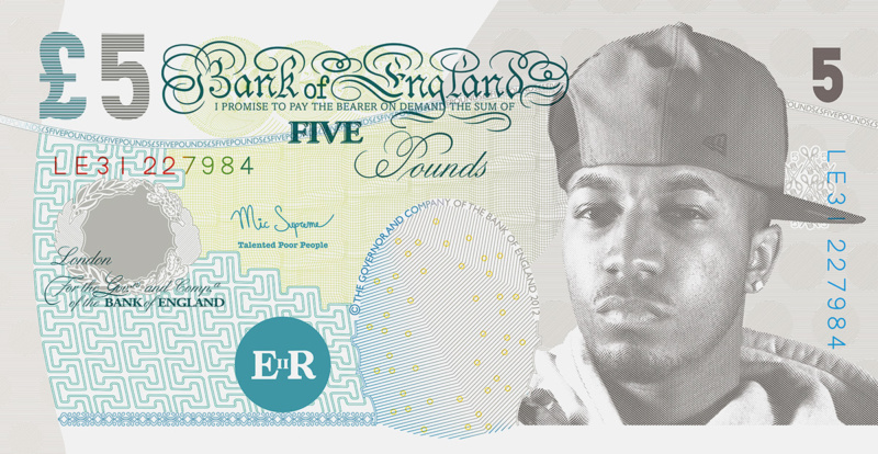紙幣を模したグラフィックデザイン