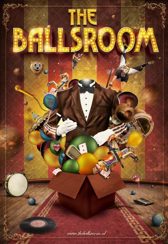 レトロな音楽イベントのポスターデザイン