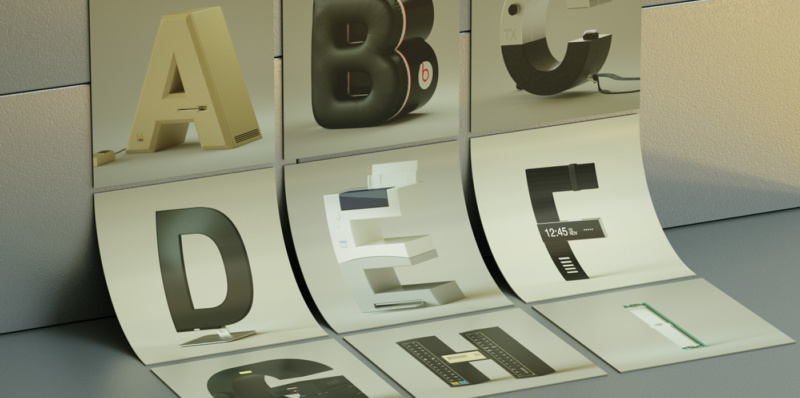 テクノロジーブランドと融合した3Dタイポグラフィー