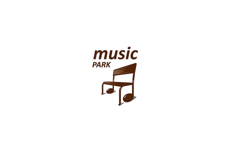 ベンチと音符を組み合わせたロゴ