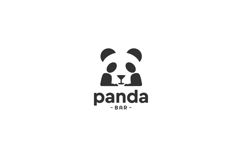 パンダとバーを組み合わせたロゴ