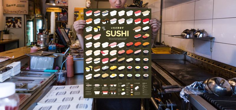 寿司のポスターデザイン
