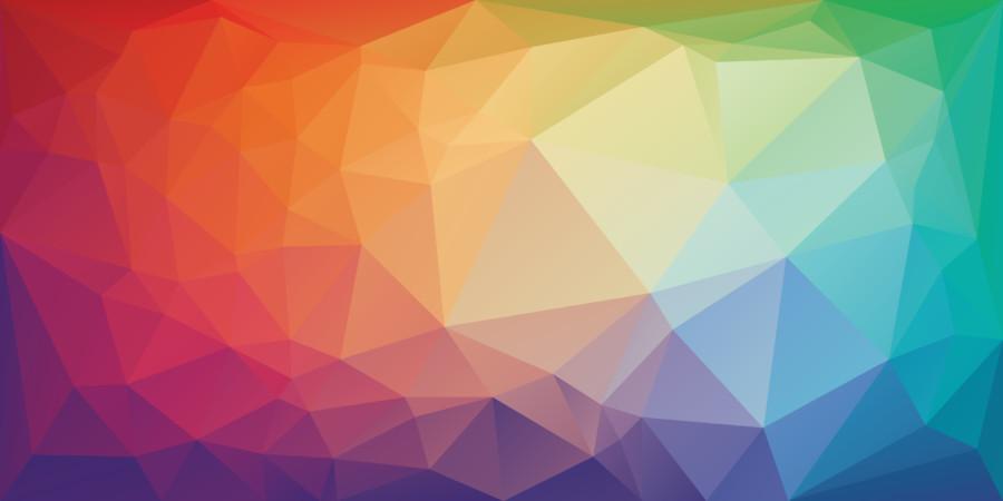 幾何学的な色の面で構成されたロゴの作成例について
