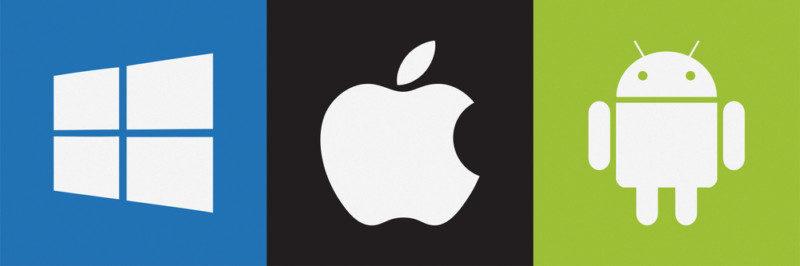 windowsとiOSとアンドロイドのロゴ