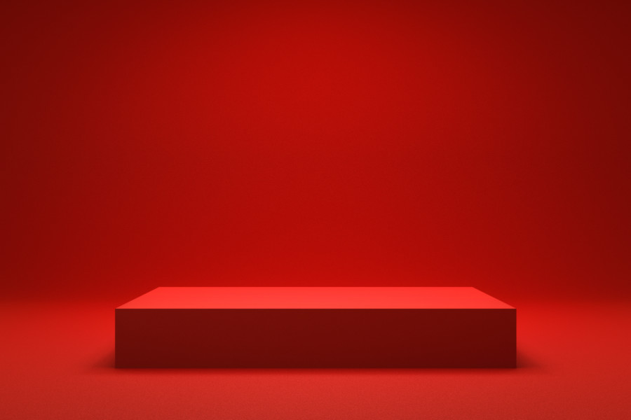 赤を基調としたパンフレットデザイン作成例について