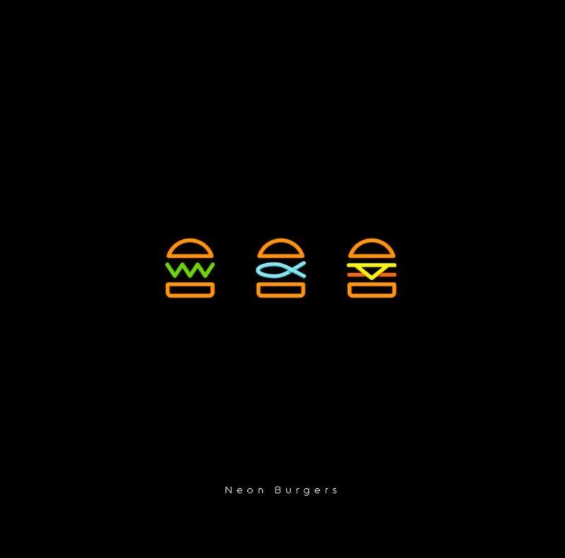 ロゴ作成例_Neon-Burgers