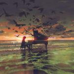 海をテーマにした音楽関係のポスターデザインの作成見本
