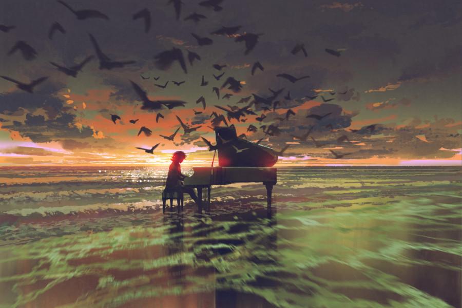 海をテーマにした音楽関係のポスター作成例について