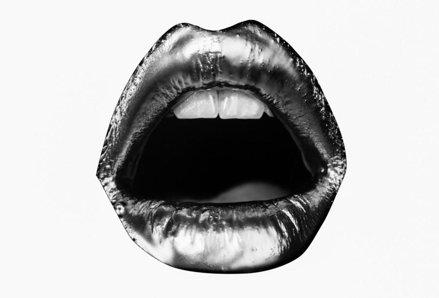 口にフォーカスしたイラストが印象的なポスター作例