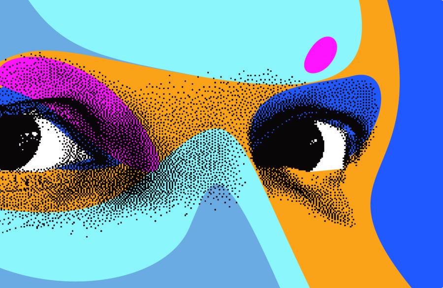 瞳をメインで扱った個性的なブックカバーデザイン