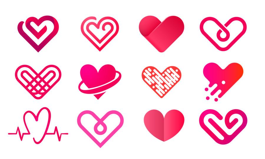 ハートのロゴデザイン作成例