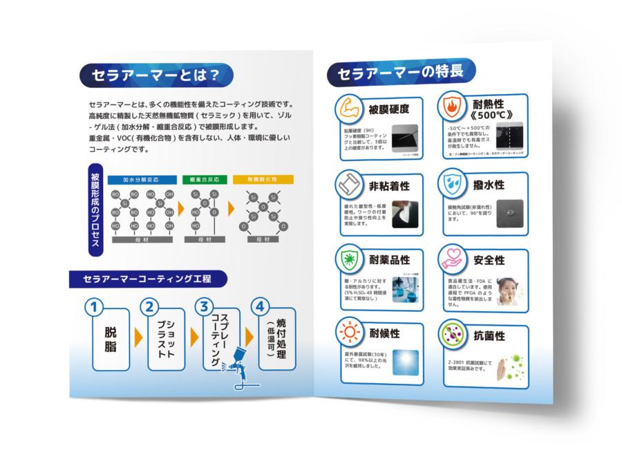 企業の商材PR用二つ折りパンフレット_A3サイズ