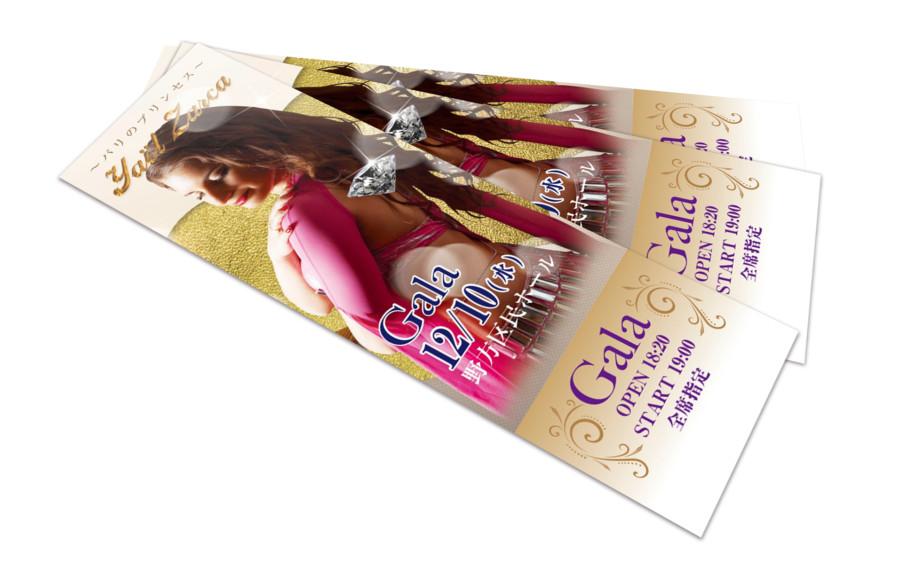 パリの女性ダンサーをフィーチャーしたチケットデザイン