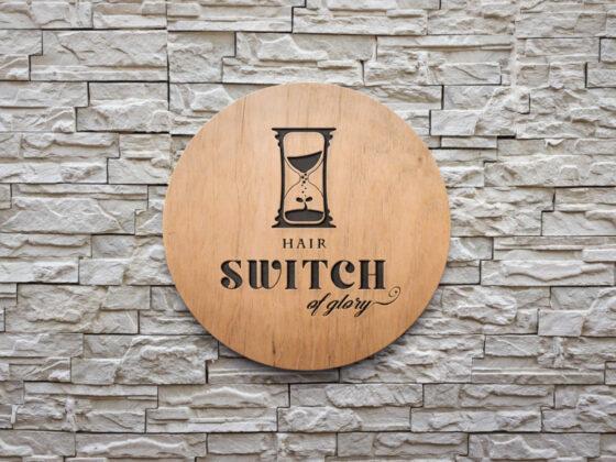 砂時計がモチーフのヘアサロンのロゴデザイン
