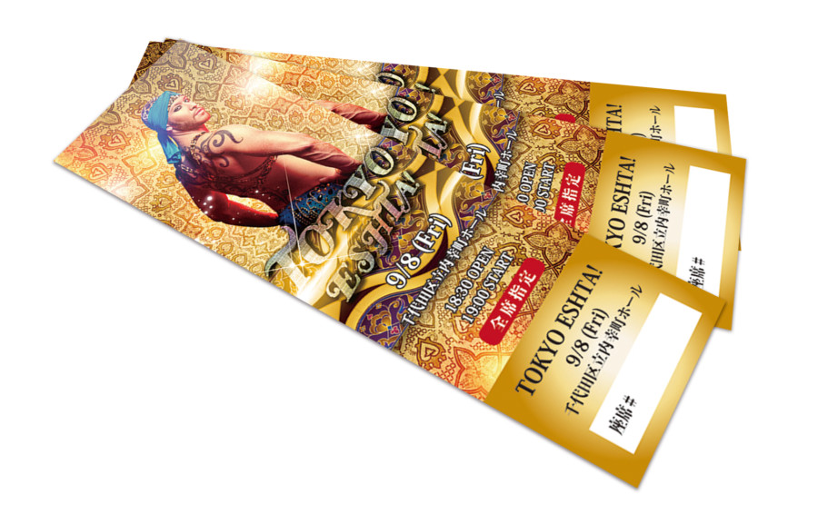 煌びやかなダンスイベントのチケットデザイン