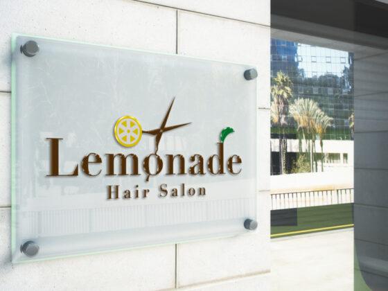 レモンがポイントのヘアサロンのロゴデザイン