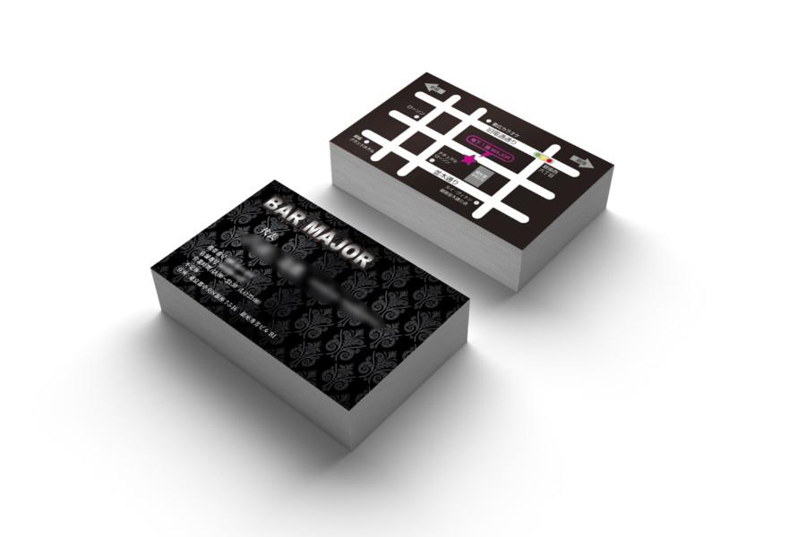 黒で統一したバーの名刺デザイン